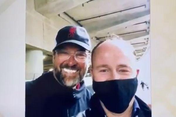 ITV reporter Jonathan Swain's selfie with Jürgen Klopp lookalike at England 2-0 Germany