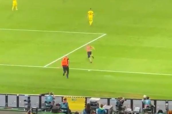 Pitch invader at Sweden 1-2 Ukraine in European Championships round of 16