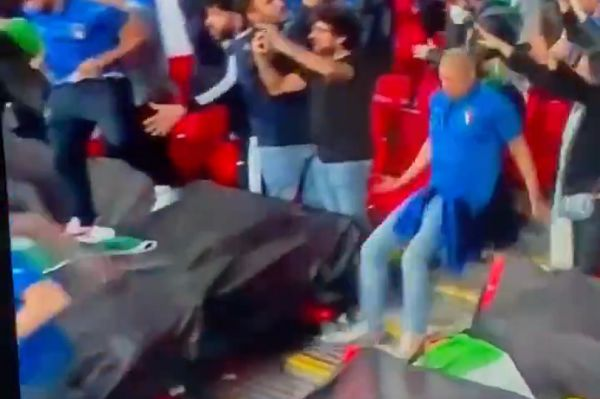 Italy fan slips down stairs after equaliser in Euro 2020 final at Wembley
