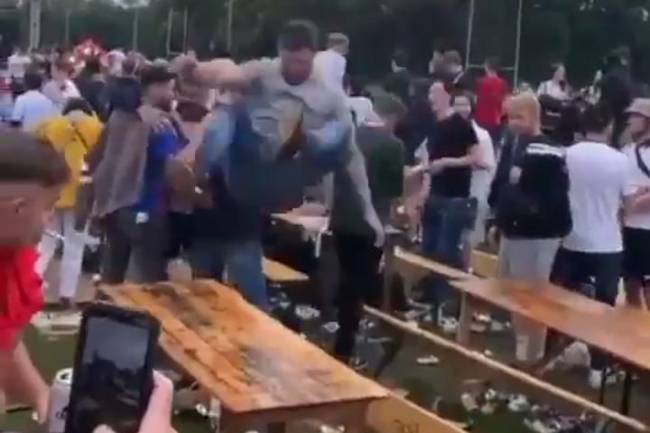 England fan jumps on table at fan park and breaks it ahead of Euro 2020 quarter-final against Ukraine