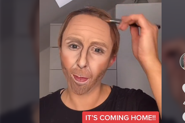 Rachel Brobbin uses makeup to turn herself into England manager Gareth Southgate in TikTok video