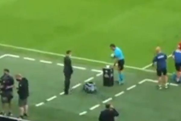 Tiny car bumps into plinth holding football before England 2-1 Denmark at Euro 2020